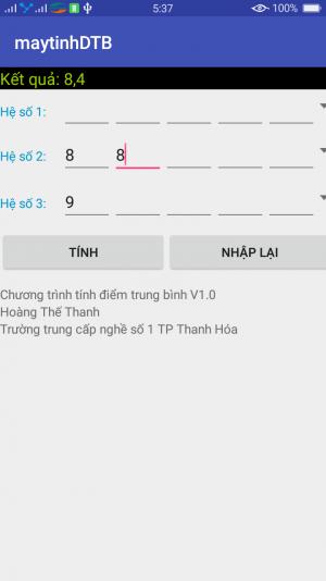 Phần mềm tính điểm cho từng học sinh 1.1 chạy trên điện thoại android